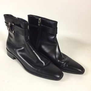 Talbots Women 8AA Black Leather Ankle Boots Bootie